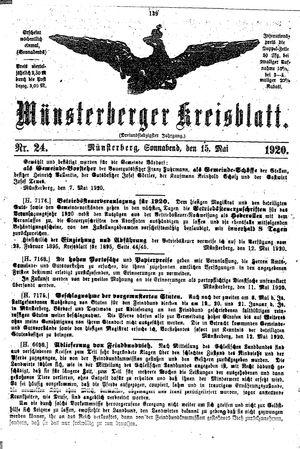 Münsterberger Kreisblatt vom 15.05.1920