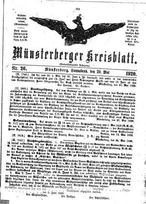 Münsterberger Kreisblatt vom 29.05.1920