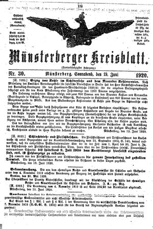 Münsterberger Kreisblatt vom 19.06.1920