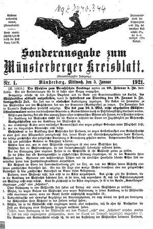 Münsterberger Kreisblatt vom 05.01.1921