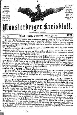 Münsterberger Kreisblatt vom 08.01.1921