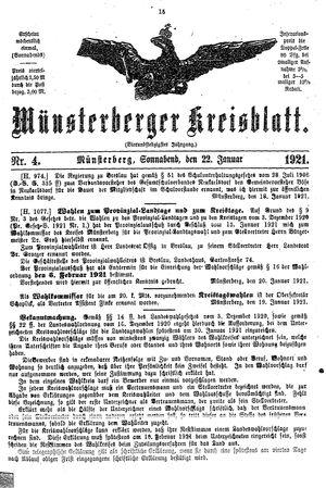 Münsterberger Kreisblatt vom 22.01.1921
