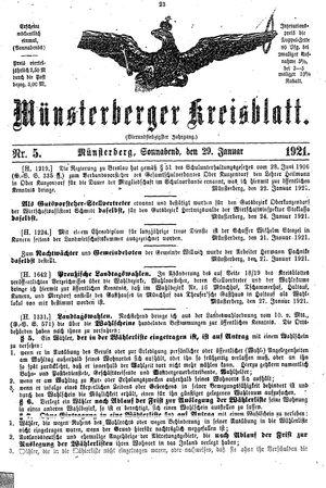 Münsterberger Kreisblatt on Jan 29, 1921