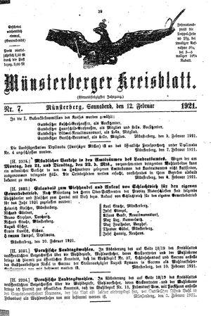 Münsterberger Kreisblatt vom 12.02.1921