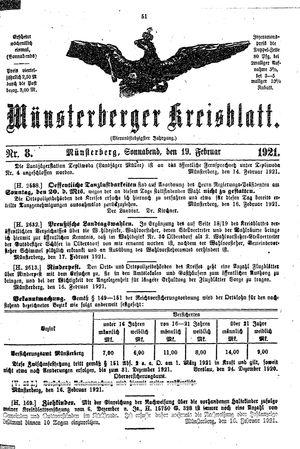 Münsterberger Kreisblatt vom 19.02.1921