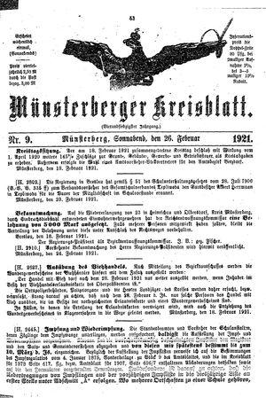 Münsterberger Kreisblatt vom 26.02.1921