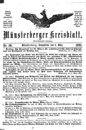 Münsterberger Kreisblatt vom 05.03.1921