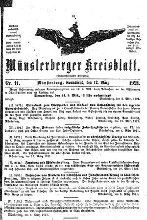 Münsterberger Kreisblatt vom 12.03.1921