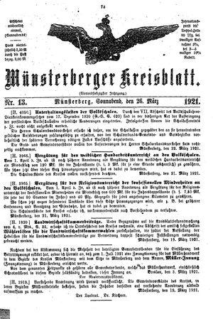 Münsterberger Kreisblatt vom 26.03.1921