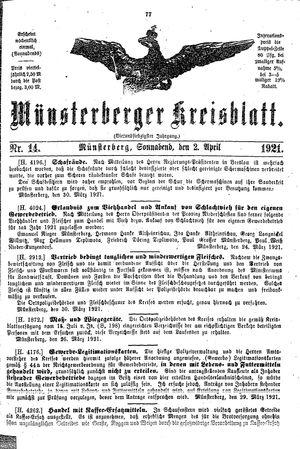 Münsterberger Kreisblatt vom 02.04.1921
