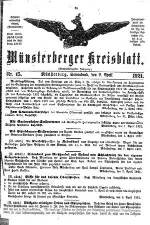 Münsterberger Kreisblatt vom 09.04.1921