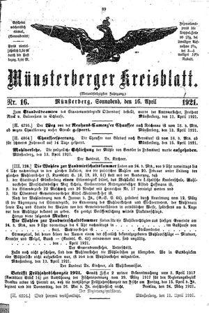 Münsterberger Kreisblatt vom 16.04.1921