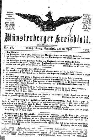 Münsterberger Kreisblatt vom 23.04.1921