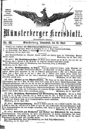 Münsterberger Kreisblatt vom 30.04.1921