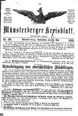 Münsterberger Kreisblatt on May 14, 1921