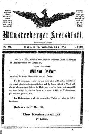Münsterberger Kreisblatt vom 21.05.1921