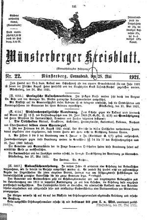 Münsterberger Kreisblatt vom 28.05.1921