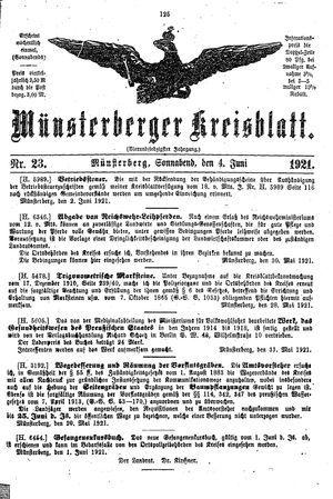 Münsterberger Kreisblatt vom 04.06.1921