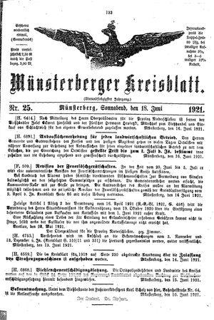 Münsterberger Kreisblatt vom 18.06.1921