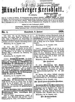 Münsterberger Kreisblatt vom 02.01.1926