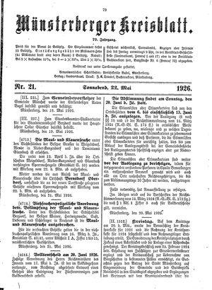 Münsterberger Kreisblatt vom 22.05.1926