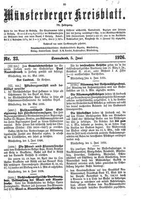 Münsterberger Kreisblatt vom 05.06.1926