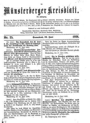 Münsterberger Kreisblatt vom 19.06.1926