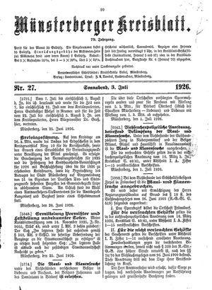 Münsterberger Kreisblatt vom 03.07.1926
