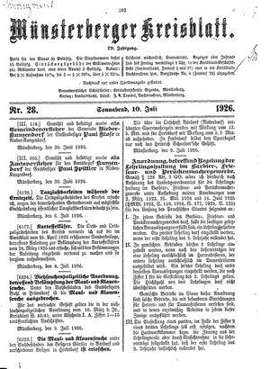 Münsterberger Kreisblatt vom 10.07.1926