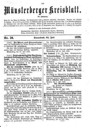 Münsterberger Kreisblatt vom 24.07.1926