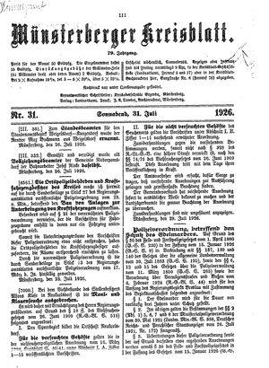 Münsterberger Kreisblatt vom 31.07.1926