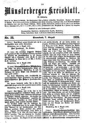 Münsterberger Kreisblatt vom 07.08.1926