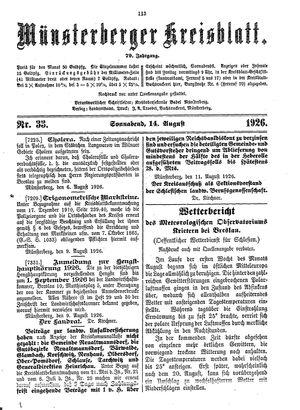 Münsterberger Kreisblatt vom 14.08.1926