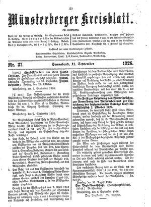 Münsterberger Kreisblatt vom 11.09.1926