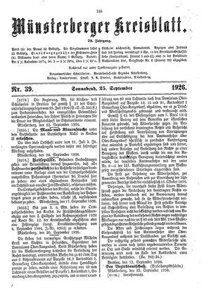 Münsterberger Kreisblatt vom 25.09.1926