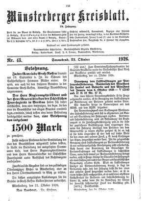 Münsterberger Kreisblatt vom 23.10.1926