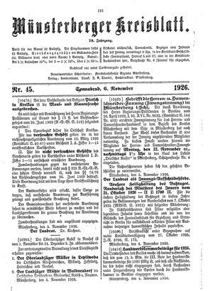 Münsterberger Kreisblatt vom 06.11.1926