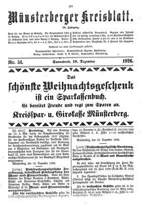 Münsterberger Kreisblatt vom 18.12.1926