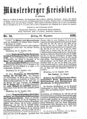 Münsterberger Kreisblatt vom 31.12.1926