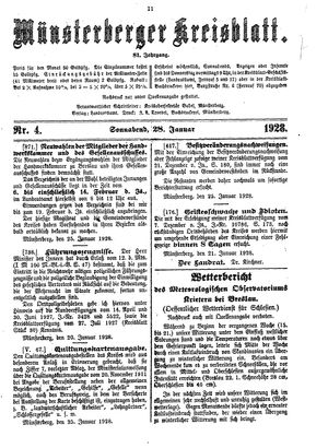 Münsterberger Kreisblatt vom 28.01.1928