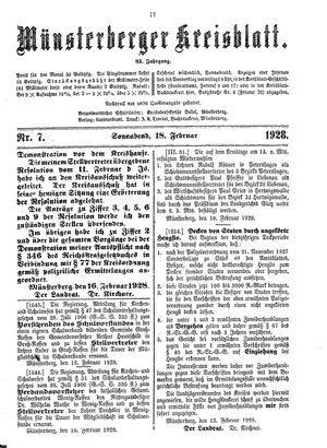 Münsterberger Kreisblatt vom 18.02.1928