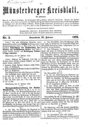 Münsterberger Kreisblatt on Feb 25, 1928