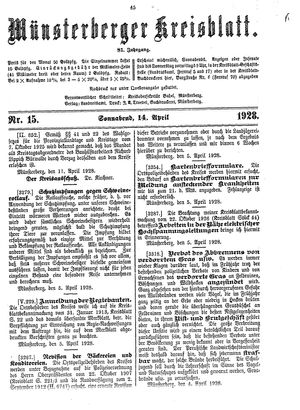Münsterberger Kreisblatt vom 14.04.1928