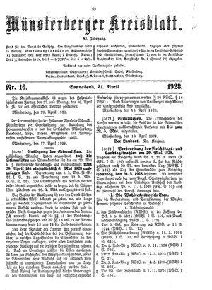 Münsterberger Kreisblatt vom 21.04.1928