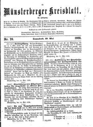 Münsterberger Kreisblatt vom 19.05.1928