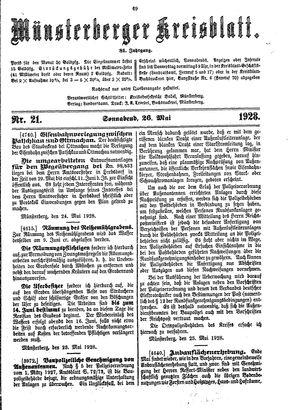 Münsterberger Kreisblatt on May 26, 1928