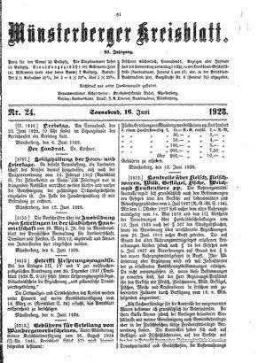 Münsterberger Kreisblatt vom 16.06.1928