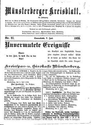 Münsterberger Kreisblatt vom 07.07.1928