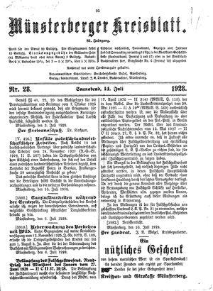 Münsterberger Kreisblatt vom 14.07.1928