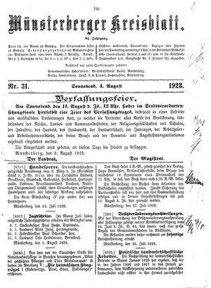 Münsterberger Kreisblatt vom 04.08.1928